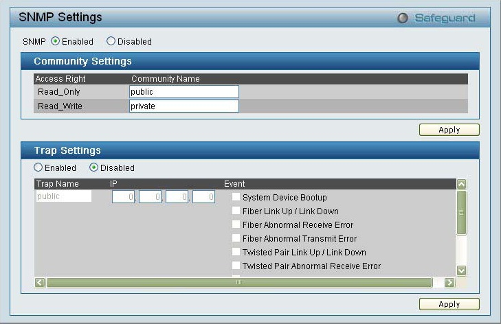 D-Link DES-1228 WEB Smart Switch SNMP Settings