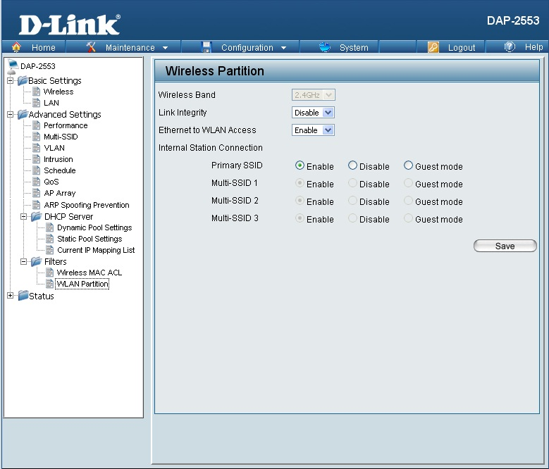 dlink-DAP-2553-WLAN-Partition