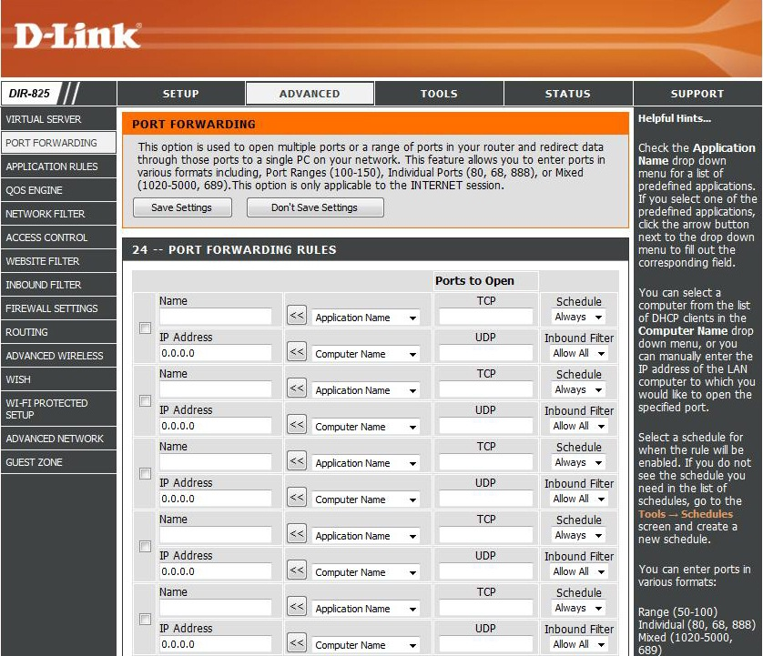 dlink-dir-825-Port-Forwarding