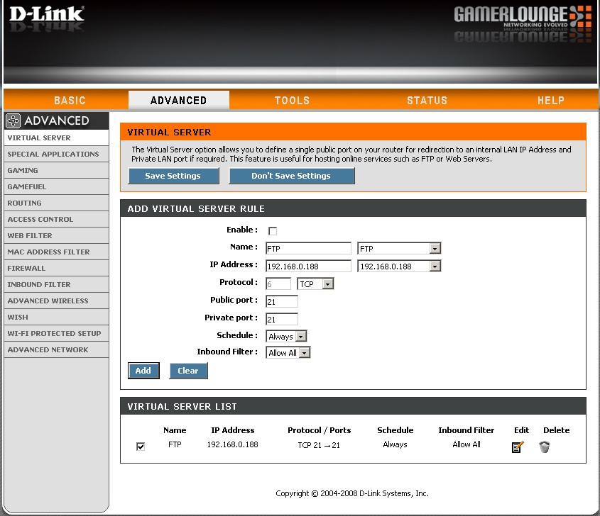 dlink-dgl-4500-Virtual-Server